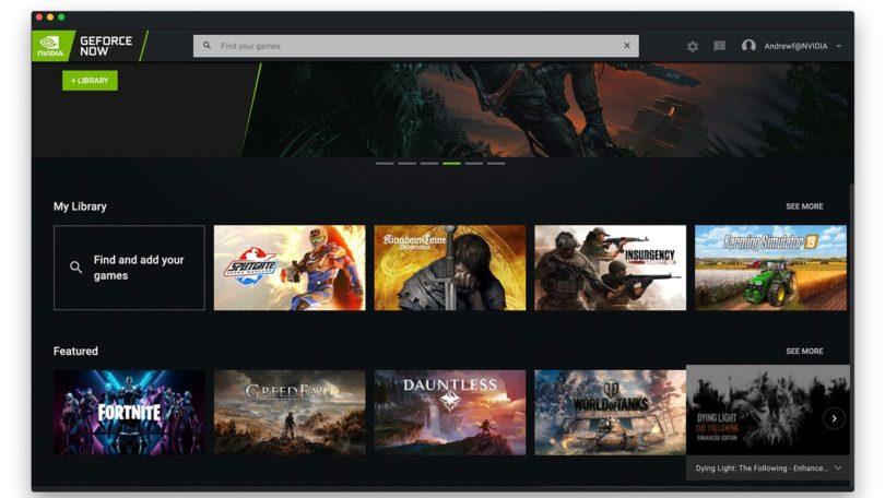 Nvidia Geforce Now: Ui